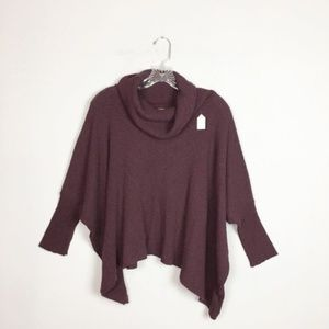 Free People beach maroon ribbed cowl neck sweater